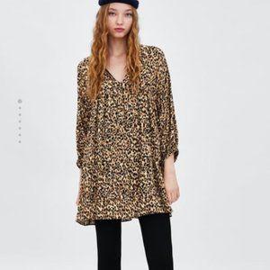 Zara TRF Leopard Cheetah Print Dress Sz Large